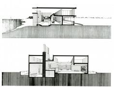 section of Milam Residence by Paul Rudolph