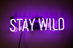 Little purple Stay Wild neon sign mounted on clear contour-cut acrylic