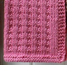 Pink Dishcloth - page needs to be translated - FREE - KNIT Knitted Washcloths, Knitted Afghans, Crochet Dishcloths, Knitted Blankets, Knit Crochet, Knitting Stitches, Knitting Patterns Free, Knit Patterns, Free Knitting