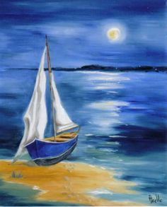 Sailboat Art, Sailboat Painting, Ship Paintings, Seascape Paintings, Landscape Art Quilts, Beach Art, Acrylic Art, Watercolor Paintings, Recherche Google