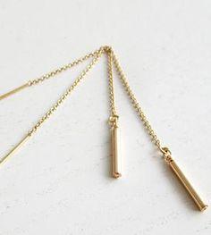 Gold Tube Threader Earrings