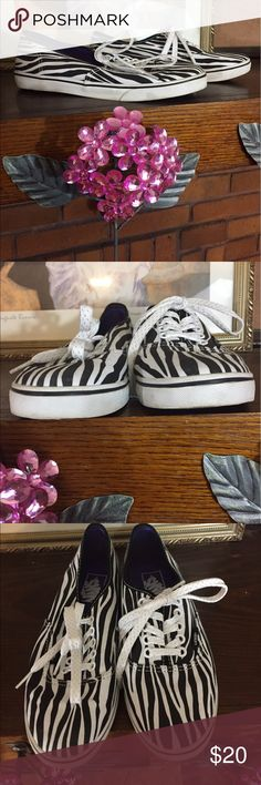 Vans zebra print sneakers Vans zebra print sneakers. Size 7.5M. Minimally worn in great condition. Some dark part on rubber sole which i tried to picture but they still look almost new. Fabric and insole in like new condition. Please check out all pictures. Read full description of the items. To ensure a happy shopping experience, please ask me any questions. Vans Shoes Sneakers
