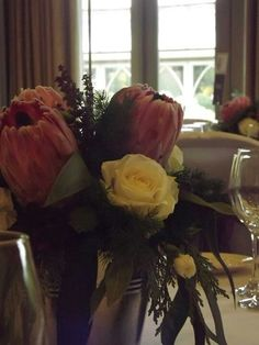 Stylish galvanised buckets for wedding guests tables