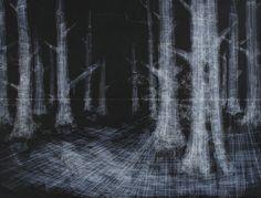 Hong Seon Jang  Black Forest  Tape on chalkboard