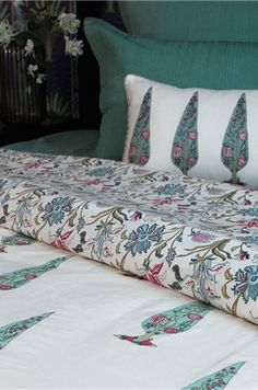 """NISHAAT HAND BLOCK COTTON DUVET COVER """"If ever there is a heaven on earth, it is here, it is here, it is here!"""" A delicate floral print in Mughal style inspired from #FARAHBAKSH #DesignCollection is hand printed on this duvet cover in fine cotton. Shop this duvet on our #WebBoutique . #BedStories #HandBockPrint"""