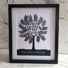 Family Tree Design - hand cut papercut  - family tree art  - home decor - Birthday gift | wedding gift | anniversary gift | Christmas gift