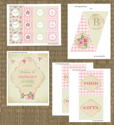 Printable Shabby Chic Girls Birthday Party Invitation and Party Pack - Pastel Green and Pink Vintage Girls 1st Birthday