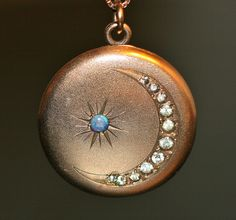 Antique Crescent Moon Locket #jewelry