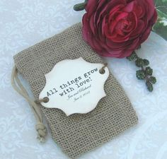 Rustic but elegant BURLAP WEDDING FAVOR bags with vintage looking beige daisy and custom tag - set of 10. Description from pinterest.com. I searched for this on bing.com/images