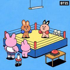 The best neighborhood boxing match 🥊 Bts Chibi, Bt 21, Cute Kawaii Animals, Kakao Friends, Line Friends, Kpop Fanart, About Bts, Bts Wallpaper, Foto E Video