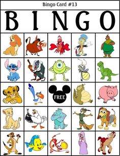 Bingo for children and families. Disney Birthday, Disney Theme, Disney Diy, Disney Crafts, Baby Disney, Disney Love, Disney Nursery, Disney Activities, Activities For Kids