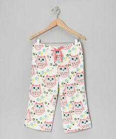 Pink Owl Plush Pajama Pants - Girls #zulily #zulilyfinds