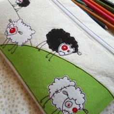 pencil case - embroidered zombie sheep  *It's like Shaun the Sheep has gone zombie! Lol