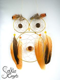 Yellow owl dream catcher. Christening or new baby present.