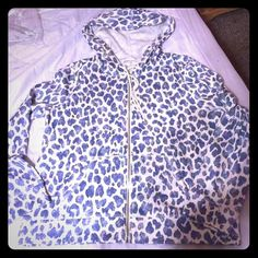 Victoria Secret Blue Animal Print Hoodie New! I ordered this online and it  just isn't quite what I expected.   Taken out of the package only for picture otherwise never even tried on. Victoria's Secret Tops Sweatshirts & Hoodies