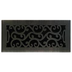 allen   roth Charleston Oil-Rubbed Bronze Steel Floor Register (Rough Opening: 10-in x 4-in; Actual: 11.42-in x 5.38-in)