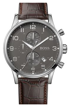 BOSS HUGO BOSS Stainless Steel & Leather Chronograph Watch, 44mm | Nordstrom