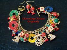 Vintage Mah Jong Charm Bracelet Asian Chinese Coins Bakelite Dice Napier Cameo