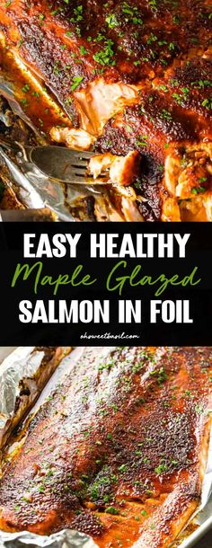 Are you trying to get in shape this year? This quick and Easy Healthy Maple Glazed Salmon in Foil only takes a couple of minutes to prepare! Easy Healthy Maple Glazed Salmon in Foil - Oh Sweet Basil Salmon In Foil Recipes, Grilled Salmon Recipes, Fish Recipes, Salmon Grilled In Foil, Easy Healthy Salmon Recipes, Bbq Salmon In Foil, Balsamic Salmon, Dill Salmon, Maple Balsamic