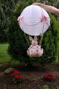 Japanese lamp - How about making a balloon using the Japanese Lamp and placing a cute bunny inside the basket? Deco Baby Shower, Baby Shower Balloons, Shower Party, Baby Shower Parties, Baby Boy Shower, Baby Shower Gifts, Baby Gifts, Bunny Birthday, Baby Shawer