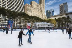 Poster-Ice skating in Bryant Park, Manhattan, New York, poster sized print mm) made in Australia Ice Rink, Bryant Park, Manhattan New York, United States Travel, Travel Images, Holiday Destinations, Ice Skating, Skyscrapers, Skate