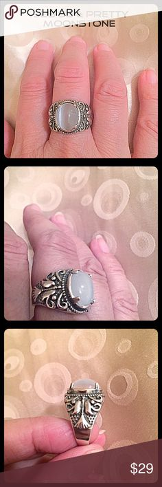 """💗.925 SS & Pretty Oval Moonstone Ring💗 This is a very substantial 925 sterling silver ring which will go with many of your other jewelry pieces. The side shank has intricate carved details, slightly oxidized for an artisanal look. Center Oval moonstone is prong set and measures approx. 1/2""""L x 3/8""""W. NWT, stored away. Size 7. About 10 gms. total wt. InEveryCorner Jewelry Rings"""