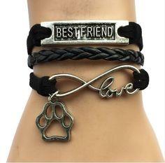Cat Paw Print Handmade Velvet Leather Bracelet