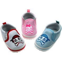 Skull & Crossbones Cute Baby Shoes Feet on the ground, head in the clouds? Not in these, these will get your cute baby off on the right foot. Slip-on cute skull & crossbones baby shoes Pirate cute skull and bones print over the upper, soft comfortable vinyl trim. Elastic sides for easy on but not …