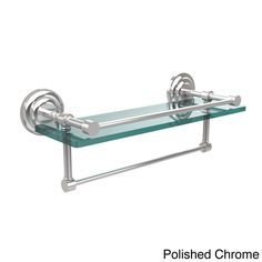 Allied Brass Que New Collection 16-inch Gallery Glass Shelf with Towel Bar (Polished Chrome), Clear