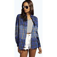 Boohoo Hope Dip Dye Checked Shirt ($8) ❤ liked on Polyvore featuring tops, multi, blue long sleeve shirt, blue top, shirts & tops, baseball shirts и ribbed crop top