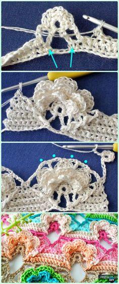 Crochet Layered Flower Stitch Free Pattern - Crochet Flower Stitch Free Patterns