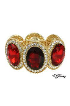 Light Siam/Gold Large Oval Stone Bracelet.