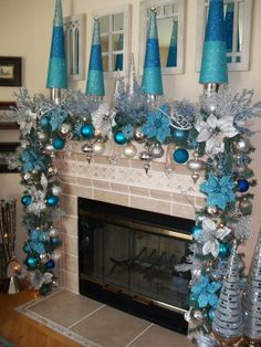 Christmas Mantle (my fireplace deco mesh garland) - made by V ...