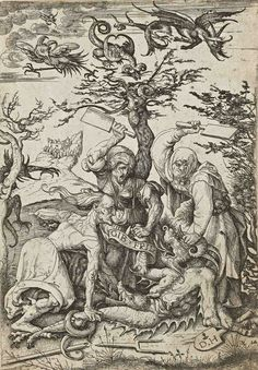 Daniel Hopfer, Three old women beating a devil on the ground, early 16th century