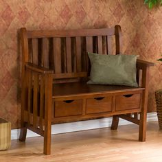 "Keep it simple and clutter free with this adorable country bench. This oak bench provides not only a place to sit and relax, but also three convenient drawers that measure 10½"" long, 7½"" wide, and 3½"" deep allowing you to stash away anything from hats and gloves, to your dog's leash and toys. The simplistic design of this bench is achieved from the traditional vertical slat back and sides. This three-drawer bench adds storage and creates the perfect entryway accent with its style and…"
