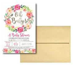 Watercolor Floral Baby Shower Invitations 100