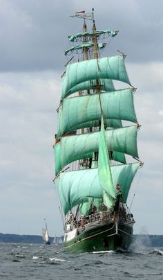 Tall ships coming in strong to newport in the summertime