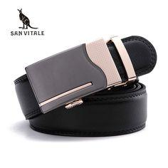SAN VITALE Men Belts Genuine Leather Luxury Strap Male Belt for Man Buckle Fancy Vintage Jeans Cintos Masculinos Ceinture Homme