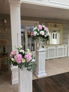 Wedding - Pillar Arrangement Wedding Pillars, Our Wedding, Bridesmaid Dresses, Wedding Dresses, Special Day, Floral, Flowers, Bridal Dresses
