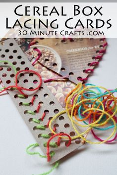 Cereal Box Lacing Cards - super simple to make out of recycled cereal box cardboard Crafts To Make, Fun Crafts, Crafts For Kids, Crafts Cheap, Simple Crafts, Cheap Gifts, Toddler Fun, Toddler Activities, Dementia Activities
