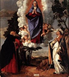 LOTTO, Lorenzo (b. ca. 1480, Venezia, d. 1556, Loreto)   Click! Assumption of the Virgin  1506 Oil on wood, 175 x 162 cm Duomo, Asolo (Treviso)  The subject of this painting has sometimes been interpreted as the appearance of the Virgin to Sts Anthony Abbot and Louis of Toulouse in order to explain the clear psychological difference between the figure of the Virgin, motionless and absorbed and the emotional warmth of the saints.