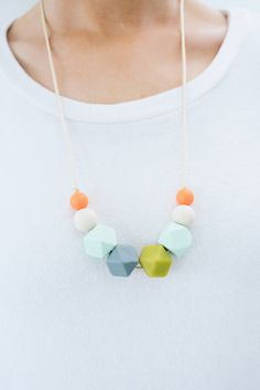 Teething Necklace Silicone Nursing Necklace Karter - Summer Lovin' Orange Cream…
