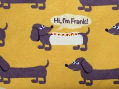 Mustard Yellow Background Color  Happy Dachshunds Cover It. Some are in Hot Dog Buns, with a squirt of ketchup and mustard across them.  100%