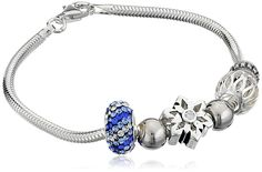 CHARMED BEADS Sterling Silver Snowflake and Bead Charm Bracelet, 7.5' >>> For more information, visit image link.