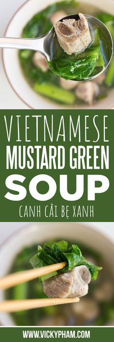 Vietnamese Mustard Green Soup with Pork Spare Ribs (Canh Cai.- How to MakeVietnamese Mustard Green Soup with Pork Spare Ribs (Canh Cai Be Xanh Nau Suon Heo) Healthy Chinese Recipes, Asian Recipes, Mexican Food Recipes, Soup Recipes, Cooking Recipes, Game Recipes, French Recipes, Japanese Recipes, Cooking Food
