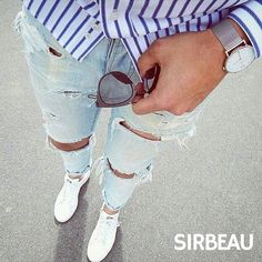 Ripped jeans button down...Good Weekend! #Sirbeau #Since1985 #Fashion #Menstyle #BestYou #Quote #Inspiration #Mensfashion #MensAccessories #Lifestyle