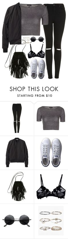 """Untitled#4593"" by fashionnfacts ❤ liked on Polyvore featuring Topshop, T By Alexander Wang, adidas, Yves Saint Laurent, La Perla, Retrò and Boohoo"