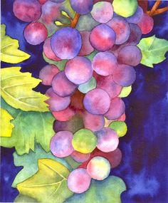 Watercolor grapes - TabascoCatArt.com