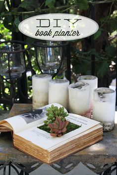 DIY Book Planter from - More Design Please amazing idea for a table number centrepiece