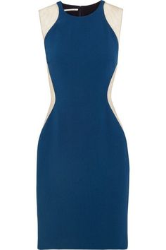 Stella McCartney - Eliana Tulle-paneled Stretch-cady Dress - Petrol - IT42
